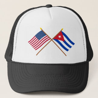 US and Cuba Crossed Flags Trucker Hat