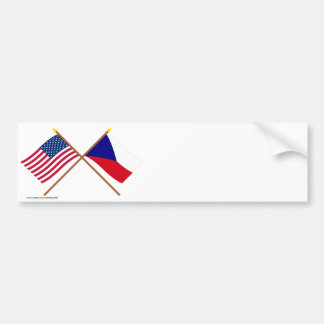 US and Czech Republic Crossed Flags Bumper Sticker