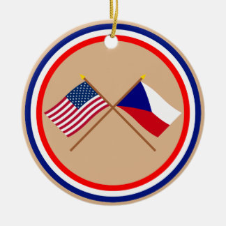 US and Czech Republic Crossed Flags Christmas Ornament