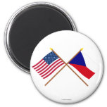 US and Czech Republic Crossed Flags 6 Cm Round Magnet