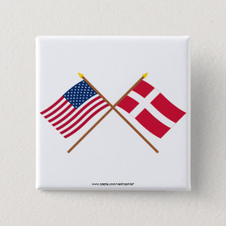 US and Denmark Crossed Flags 15 Cm Square Badge