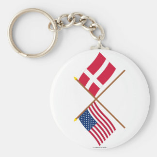 US and Denmark Crossed Flags Basic Round Button Key Ring
