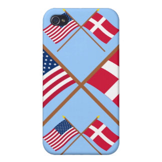US and Denmark Crossed Flags Cases For iPhone 4