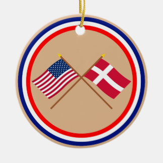 US and Denmark Crossed Flags Christmas Ornament