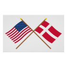 US and Denmark Crossed Flags Poster