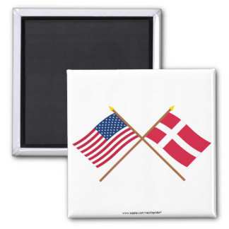 US and Denmark Crossed Flags Square Magnet