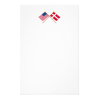 US and Denmark Crossed Flags Stationery