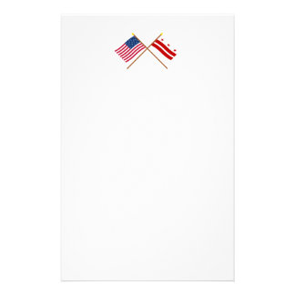 US and District of Columbia Crossed Flags Customized Stationery