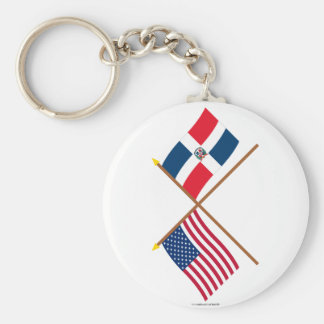 US and Dominican Republic Crossed Flags Basic Round Button Key Ring
