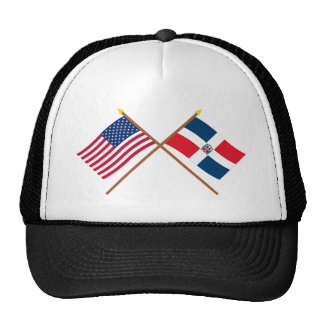 US and Dominican Republic Crossed Flags Cap