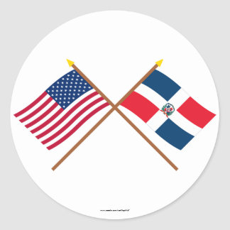 US and Dominican Republic Crossed Flags Classic Round Sticker