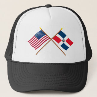 US and Dominican Republic Crossed Flags Trucker Hat