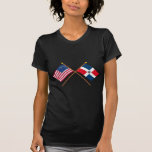 US and Dominican Republic Crossed Flags Tshirt