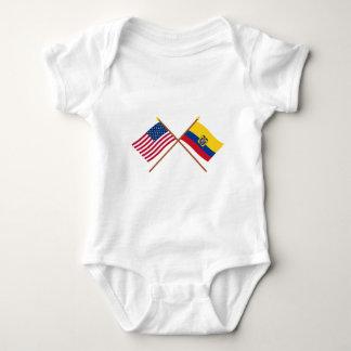 US and Ecuador Crossed Flags Baby Bodysuit