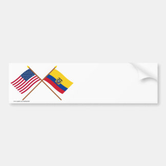 US and Ecuador Crossed Flags Bumper Sticker