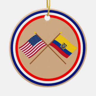 US and Ecuador Crossed Flags Christmas Ornament