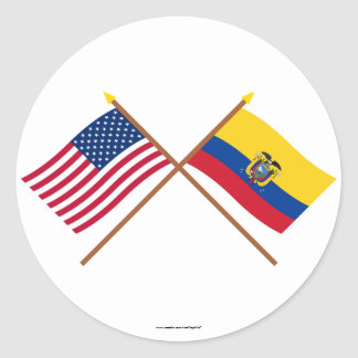 US and Ecuador Crossed Flags Classic Round Sticker