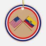 US and Ecuador Crossed Flags Round Ceramic Decoration