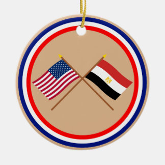 US and Egypt Crossed Flags Christmas Ornament