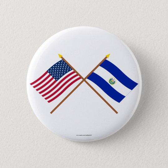 US and El Salvador Crossed Flags 6 Cm Round Badge