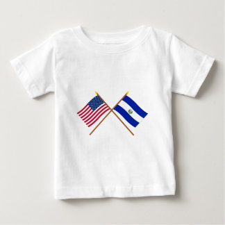 US and El Salvador Crossed Flags Baby T-Shirt