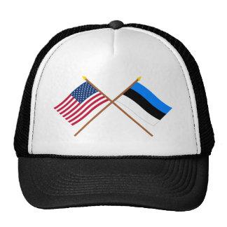 US and Estonia Crossed Flags Cap
