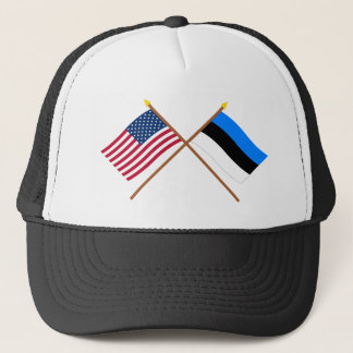 US and Estonia Crossed Flags Trucker Hat