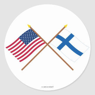 US and Finland Crossed Flags Round Sticker