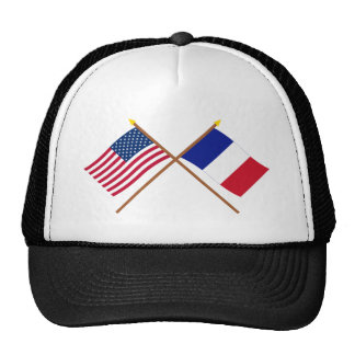 US and France Crossed Flags Cap