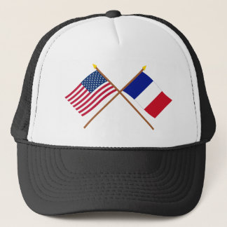 US and France Crossed Flags Trucker Hat