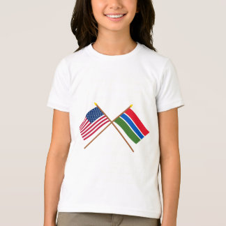 US and Gambia Crossed Flags T-shirts