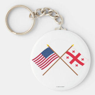 US and Georgia Republic Crossed Flags Basic Round Button Key Ring