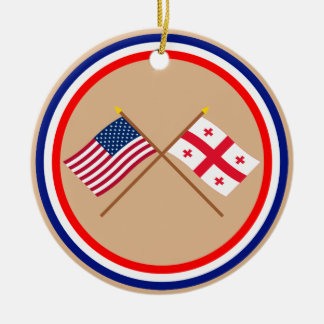 US and Georgia Republic Crossed Flags Christmas Ornament