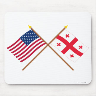 US and Georgia Republic Crossed Flags Mouse Mat