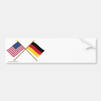 US and Germany Crossed Flags Bumper Sticker