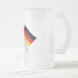 US and Germany Crossed Flags Frosted Glass Beer Mug