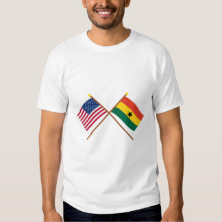 US and Ghana Crossed Flags T-shirts