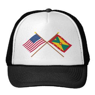 US and Grenada Crossed Flags Cap