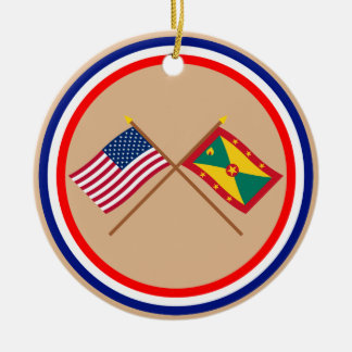 US and Grenada Crossed Flags Christmas Tree Ornament
