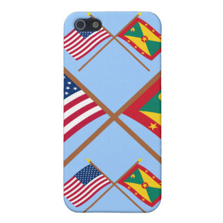 US and Grenada Crossed Flags Covers For iPhone 5