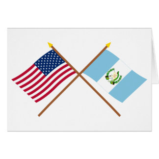 US and Guatemala Crossed Flags Card