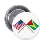 US and Guyana Crossed Flags Pin
