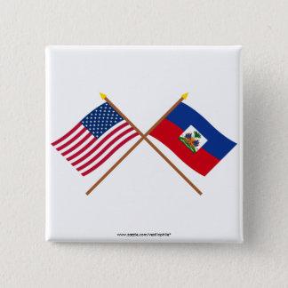 US and Haiti Crossed Flags 15 Cm Square Badge