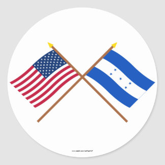 US and Honduras Crossed Flags Classic Round Sticker
