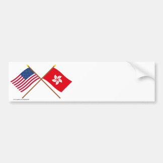 US and Hong Kong Crossed Flags Bumper Sticker