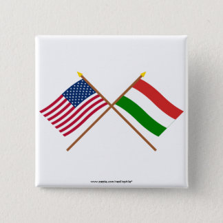 US and Hungary Crossed Flags 15 Cm Square Badge