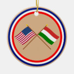 US and Hungary Crossed Flags Christmas Tree Ornaments