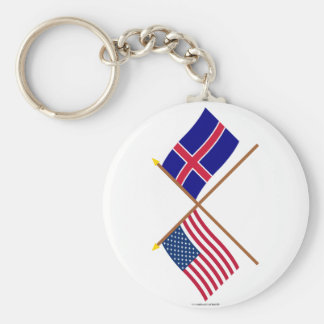 US and Iceland Crossed Flags Key Ring