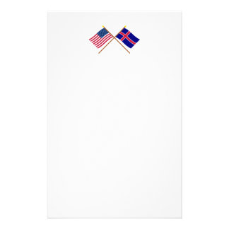 US and Iceland Crossed Flags Stationery