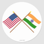 US and India Crossed Flags Round Sticker